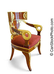 Golden luxury chair. Isolated on white with clipping path