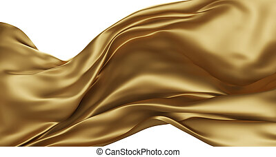 Golden luxury fabric isolated on white background 3d render