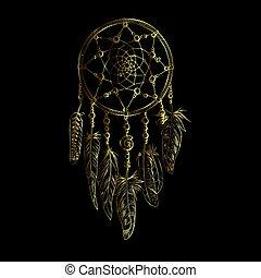 Golden luxury ornate Dreamcatcher with feathers, gemstones. Astrology, spirituality, magic symbol. Ethnic tribal element.