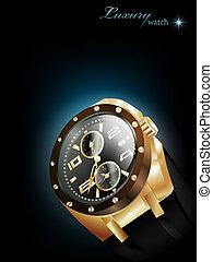 golden luxury watch - Man golden luxury watch over dark...