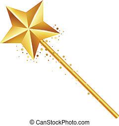 golden magic wand - Vector illustration of golden magic wand
