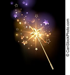 golden magic wand - magic wand decorated with gold stars on...