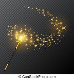 Golden magic wand with glow light effect on transparent background. Vector illustration.
