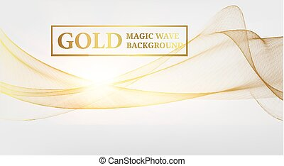 Golden magic wave background.