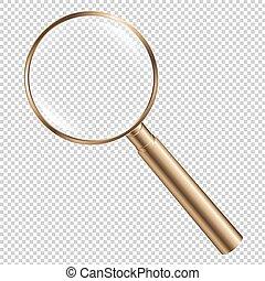 Golden Magnifying Gradient Mesh, Vector Illustration