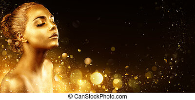 Golden Makeup - Fashion Model Portrait With Gold Skin And Glittering In Shiny Background