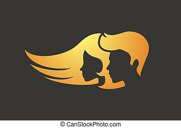 golden man and woman faces