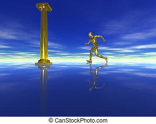 golden man runs on water