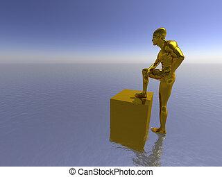 golden man sit on water