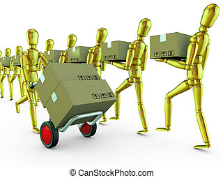 golden man with a trolley