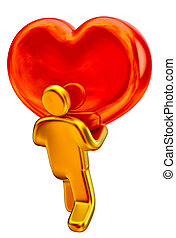golden man with red heart