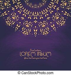 Golden mandala pattern design template. Vintage ethnic background frame.
