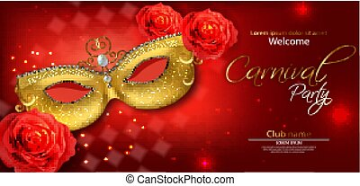 Golden mask and red rose Vector realistic. Stylish Masquerade Party. Mardi Gras card invitation. Night Party Poster. Dance Flyer lights. Musical festival banner templates