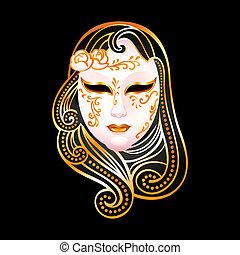Golden mask - Venetian female carnival golden mask isolated...
