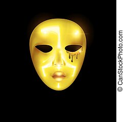 golden mask of abstract face