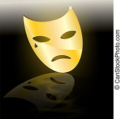 golden mask of tragedy - on dark background abstract large...