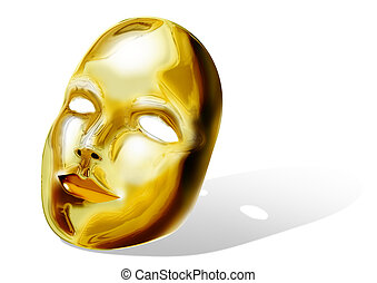Golden Mask - Stock image of a golden mask on white...