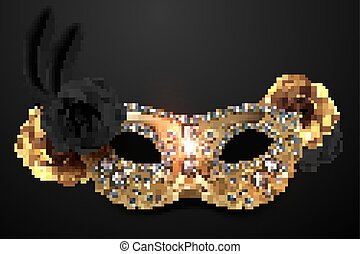 Golden mask with roses