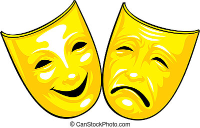 golden masks from theatre isolated on the white background