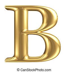 Golden matt letter B, jewellery font collection