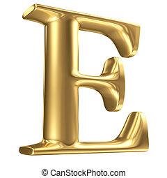 Golden matt letter E in perspective, jewellery font...