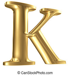 Golden matt letter K in perspective, jewellery font...