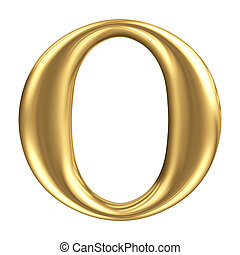 Golden matt letter O, jewellery font collection
