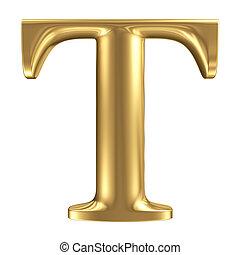 Golden matt letter T, jewellery font collection