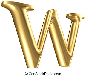 Golden matt letter W in perspective, jewellery font...