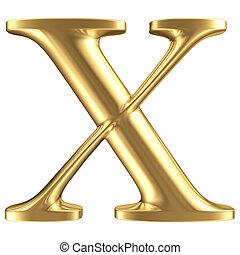Golden matt letter X, jewellery font collection