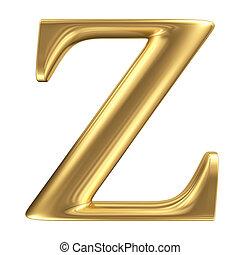 Golden matt letter Z, jewellery font collection