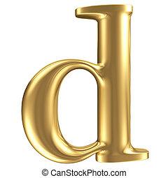 Golden matt lowercase letter d, jewellery font collection