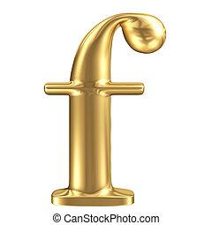 Golden matt lowercase letter f, jewellery font collection