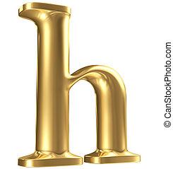 Golden matt lowercase letter h in perspective, jewellery...