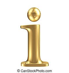 Golden matt lowercase letter i, jewellery font collection