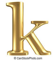 Golden matt lowercase letter k, jewellery font collection