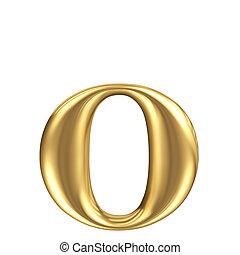 Golden matt lowercase letter o, jewellery font collection