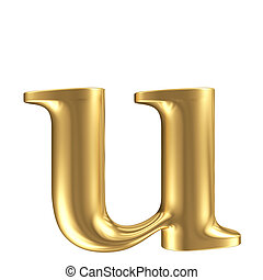 Golden matt lowercase letter u, jewellery font collection