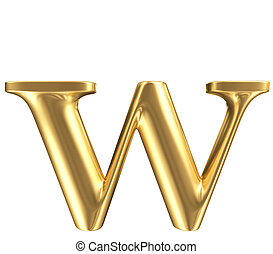 Golden matt lowercase letter w, jewellery font collection