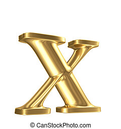 Golden matt lowercase letter x in perspective, jewellery...