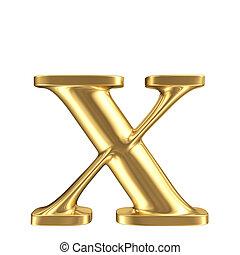 Golden matt lowercase letter x, jewellery font collection