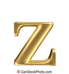 Golden matt lowercase letter z, jewellery font collection