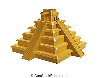 golden mayan pyramid isolated on white background