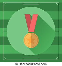 Golden Medal in Red Ribbon colorful icon