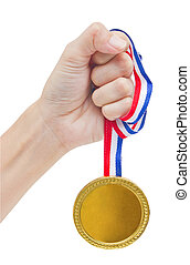Golden medal in woman's hand isolated on white background.