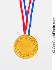 Golden medal isolated on white.