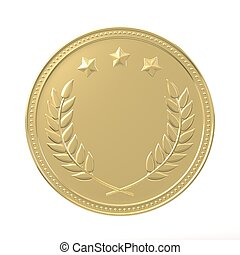 Golden Medal - Gold medal with laurels and stars. Round...
