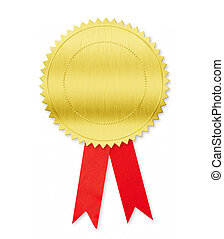 Golden medal with red bow isolated on white