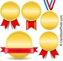 Golden Medals - Set of golden medals, vector eps10...