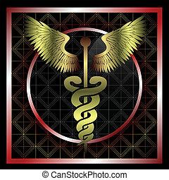 Golden medical caduceus